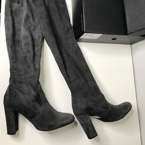 Dune Over The Knee Grey Suede Boots